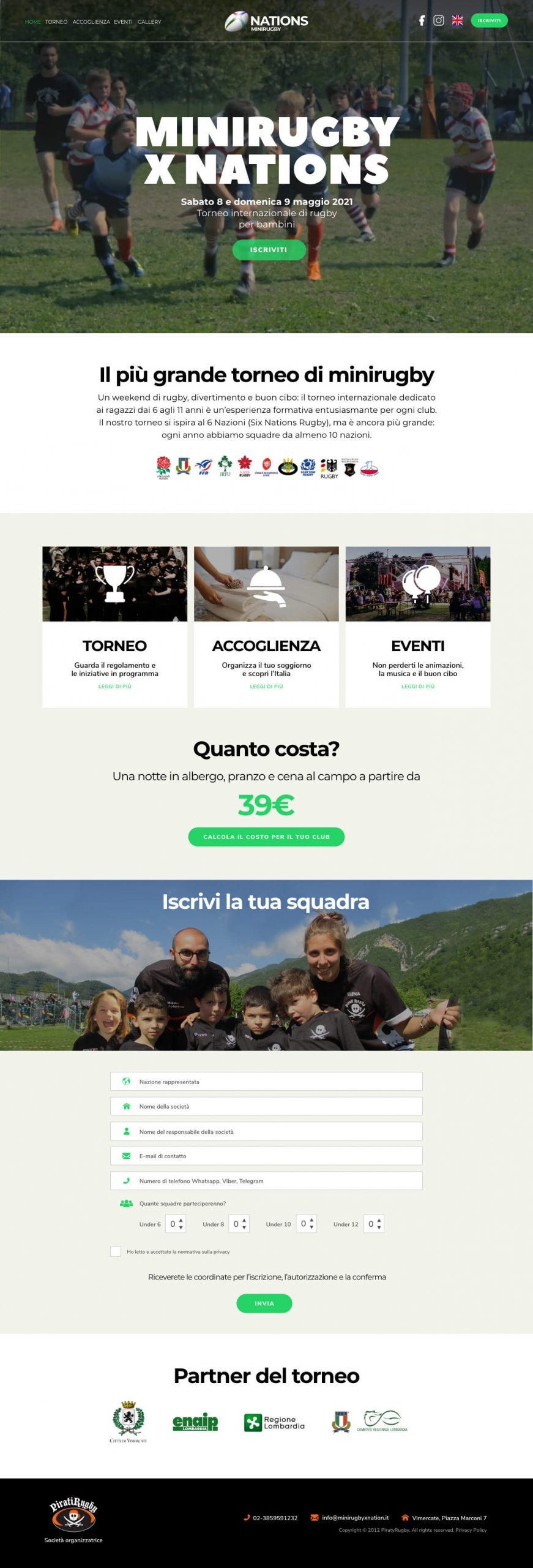 Minirugby X nation - Web Design